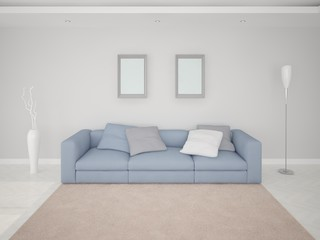 Room with a blue sofa.