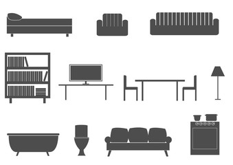 Furniture silhouette icons