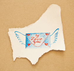 "Hand drawn envelope with wings and note ""I love you"" on piece of"