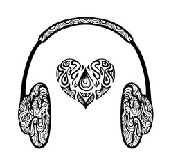 Headphones and heart symbol. Vector illustration.