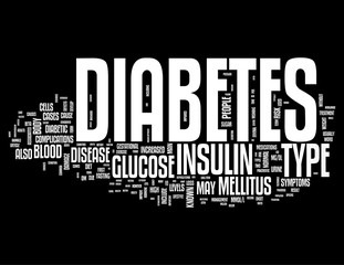 Diabetes words collage isolated on white background