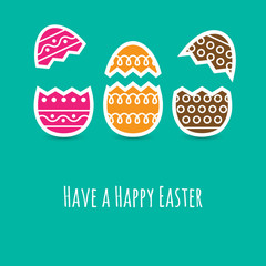 Simple Easter wishing card with cracked eggs in flat design