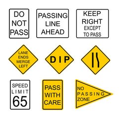 Set of road signs. USA. Road symbols. Vector icon.