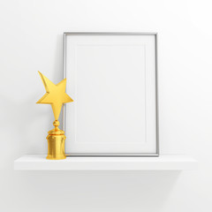 gold star award and blank photo frame on white shelf on white ba
