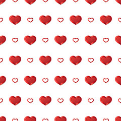 Valentines Day Background. Vector seamless pattern with white Hearts on black background.