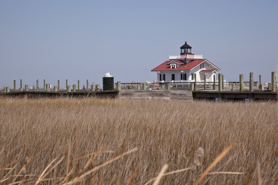 The Roanoke Marshes Lighthouse was built on the Manteo waterfront in 1899.