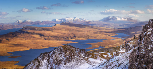 The Scottish Highlands. View from the Old Man of Storr on a beautiful spring afternoon - Isle of Skye, Scotland, UK