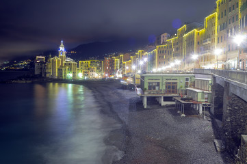 Camogli, Genoa, winter night view. Color image
