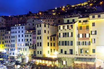 Camogli, Genoa, marina night view. Color image