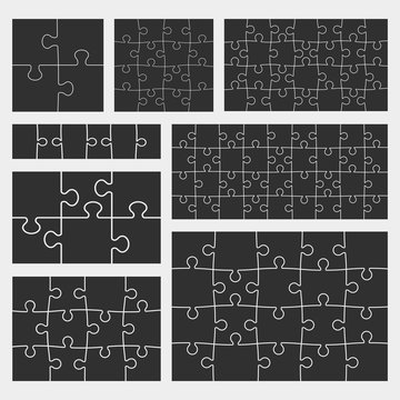Vector puzzle set with 4, 6, 12, 16, 20, 28, and 36 pieces. Isolated on white background, eps 8.