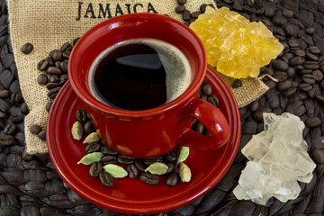 Jamaica coffee red cup with cardamon isometric