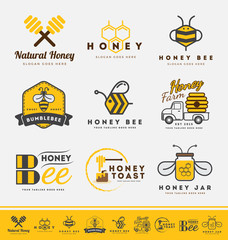 Set of honey bee logo and labels for honey products. Abstract bee and honey logo symbols. Vector illustration