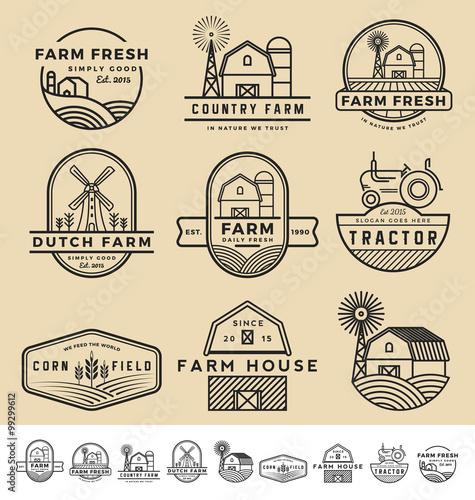 Set of vintage and modern farm badge logo and labels design. Vector illustration