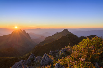 twilight between the sun set at the peak of Chiang Dao mountain,Chiang Mai,Thailand with the beauty alpine scene