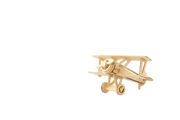 Wood airplane on old white background,with clipping path.