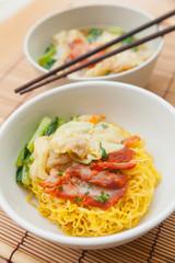 Noodles with dumpling and vegetables