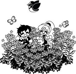The couple who runs in the flower garden of the colza happily.