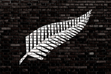 flag of Silver fern painted on brick wall
