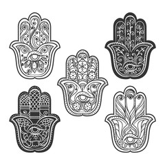 Indian hamsa hand with eye