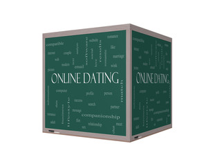 Online Dating  Cloud Concept on a 3D Blackboard