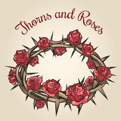 Wall Mural - Thorns and roses engraving emblem