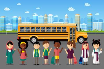 Multinational kids going to school