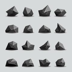 Wall Mural - Black polygon stone and poly rocks