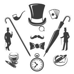 Vintage gentlemen symbols vector