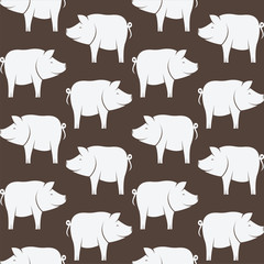 Vector seamless pattern with pig on brown background. wallpaper
