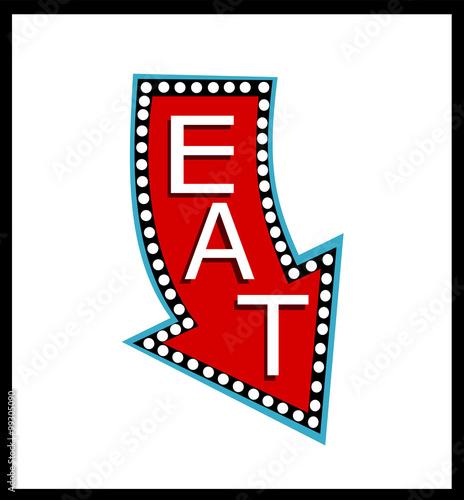 illustrated vintage eat neon sign