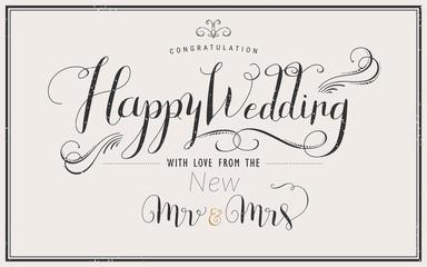 Happy Wedding calligraphy design