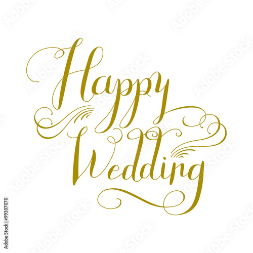 Happy Wedding calligraphy design Stock image and royaltyfree