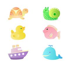 Набор детских игрушек для купания - уточка, рыбка, черепаха, улитка, кит, кораблик.