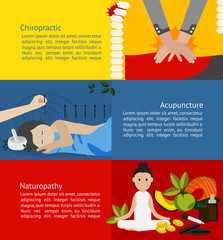 Alternative medicine chiropractic acupuncture naturopathy infographic banner template brochure layout for chemical free health care education and advertisement (vector)