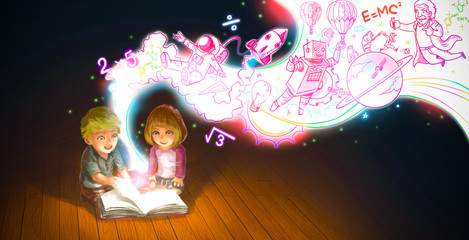 Cartoon couple boy and girl reading book while knowledge and creative imagination flow like a magic stream (graphic illustration)
