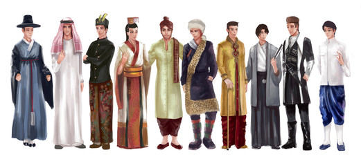 Cartoon illustration of Asian male man traditional, religion, and national costume dress clothing fashion clothes set represent each country art and culture in friendly and world peace concept