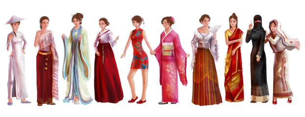 Cartoon illustration of Asian female woman traditional, religion, and national costume dress clothing fashion clothes set represent each country art and culture in friendly and world peace concept