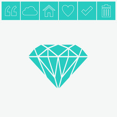 Diamond icon vector.