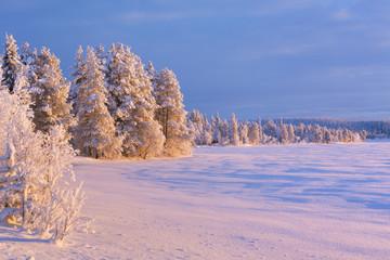 Fototapete - Frozen Äijäjärvi lake in Finnish Lapland in winter at sunset