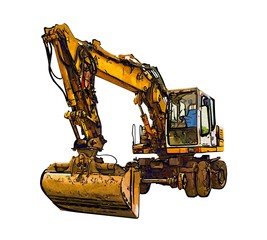 Excavator illustration color isolated art work