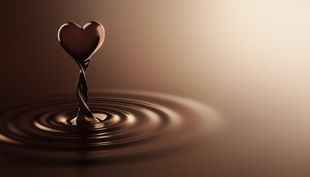 Heart shape chocolate rising from chocolate ripples