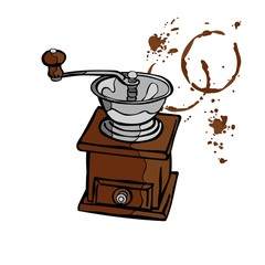 Coffee grinder. Stains of coffee. Splashes of coffee.