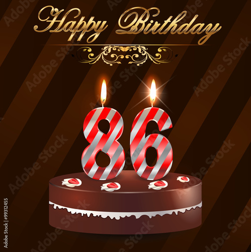 Quot 86 Year Happy Birthday Card With Cake And Candles 86th