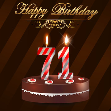71 year Happy Birthday Card with cake and candles, 71st birthday - vector EPS10