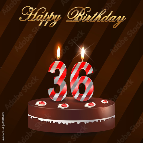 """""""36 Year Happy Birthday Card With Cake And Candles, 10th"""