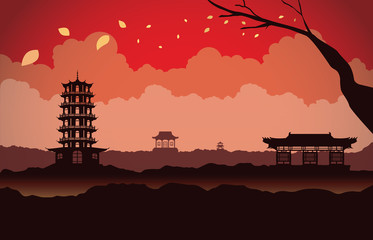 Different Chinese architecture on mountain in scene. This is illustration about China background