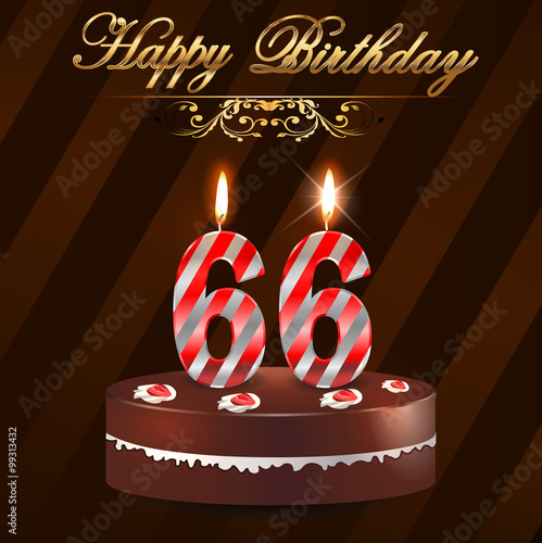 """""""66 Year Happy Birthday Card With Cake And Candles, 66th"""
