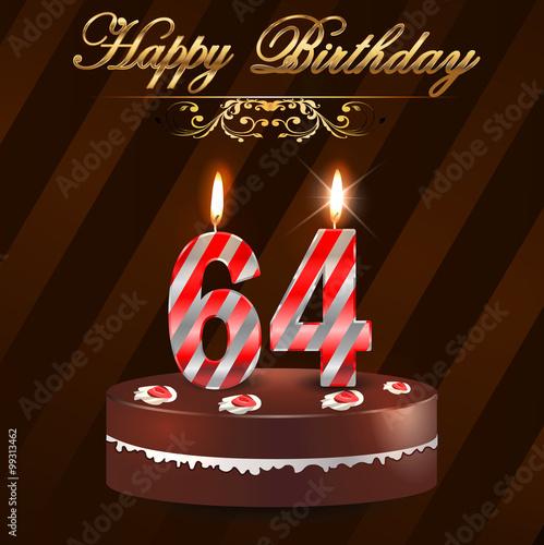 Quot 64 Year Happy Birthday Card With Cake And Candles 64th