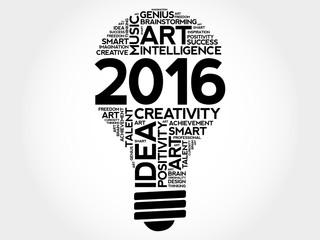 2016 Creative Ideas bulb word cloud concept