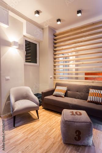Piccolo soggiorno con divano e poltrona in appartamento ristrutturato con gusto e stile photo - Soggiorno con divano ...